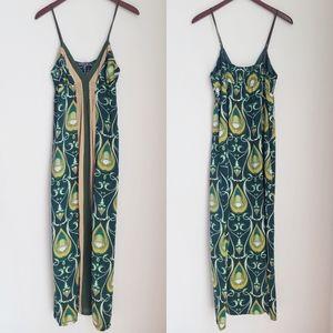 HALÉ BOB Printed Silk Colorblock Maxi Dress